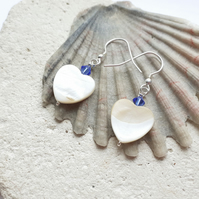 Mother of Pearl Heart earrings with Blue Swarovski Crystals