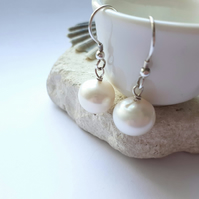Top Notch White Freshwater Pearls with Sterling Silver Hooks