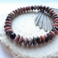Mens Rhodinite Semi Precious Elasticated Bracelet