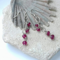 Ruby Navette Chain Waterfall Earrings