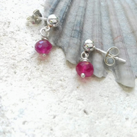 Ruby Sterling Silver Dangle Studs