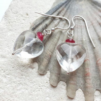 Heart shaped Rock Crystal Quartz and Ruby Sterling Silver Dangle Earrings