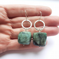 Handmade Textured Silver Circle Earrings with Emerald Chunks