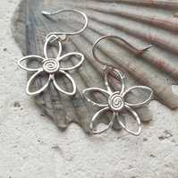 Flower Navette Sterling Silver Hook Earrings