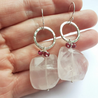 Handmade Textured Silver Circle Earrings with Rose Quartz Chunks and Rubies