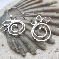 Handmade Textured Silver Spiral Hook Earrings