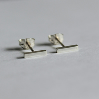 Minimalist sterling silver bar earrings