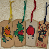 Set of 4 Fun Hand-drawn Christmas Gift Tags