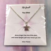 Star Necklace - Sterling Plate Star Charm - Gift for her - Womens Necklace