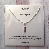 Free Spirit Feather Necklace - Silver Feather Pendant - Boho gift - Gift for her