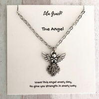 Angel Necklace - Antique Silver - Gift for her - Personalise the jewellery card