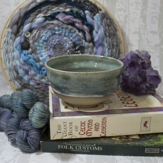 Wheel Thrown Bowl - Duck Egg Blue - White