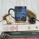 Wheel Thrown Mug - Drippy Blue