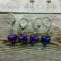 Iridescent Purple Heart Shaped Stitch Marker, Pack of 4