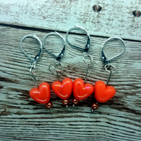 Iridescent Orange Heart Shaped Stitch Marker, Pack of 4