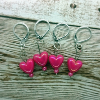 Iridescent Cerise Heart Shaped Stitch Marker, Pack of 4