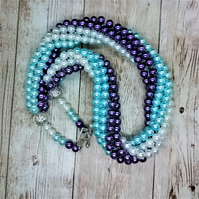 Glass Pearl Bead Twist Rope Necklace Choker White, Blue & Purple