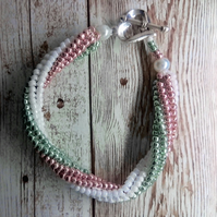 Glass Seed Bead Twist Rope Bracelet White, Green & Pink