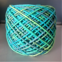 "100% Cotton DK Hand Dyed Yarn ""Blue Raspberry & Lime"" approx 100g"