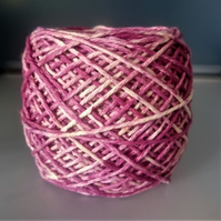 "100% Cotton DK Hand Dyed Yarn ""Raspberry Ripple"" approx 100g"