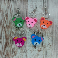 Handmade Wooden Teddy Face Stitch Marker, Pack of 5