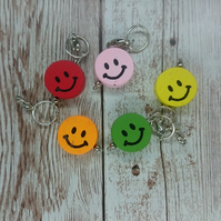 Handmade Wooden Smiley Face Stitch Marker, Pack of 5
