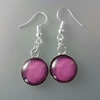 Hand Painted Single Cabochon Earrings, Over 30 Colours Available
