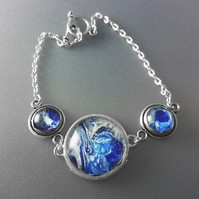 Blue and White Fluid Art Bracelet