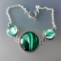 Green and White Fluid Art Bracelet