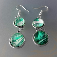 Green and White Fluid Art Double Sided Earrings