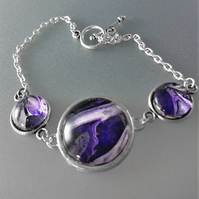 Purple and White Fluid Art Bracelet
