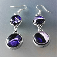 Purple and White Fluid Art Double Sided Earrings