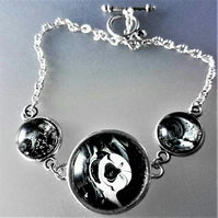 Black and White Fluid Art Bracelet