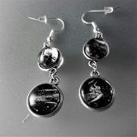 Black and White Fluid Art Double Sided Earrings