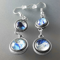 Blue and White Fluid Art Double Sided Earrings