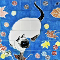 "Backsplash wall tiles, Hand painted ceramic mural, The Siamese Cat, 32"" W x 24"""