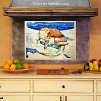 "Hand painted backsplash, Size 32"" W x 24"" H, Ceramic tile mural, ""The Otter"""