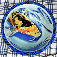 Ceramic Fruit bowl, Kiln fired glazed bowl, Large hand painted pottery, Koi fish