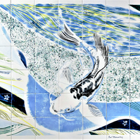 "Bespoke Hand painted glazed tile splashback, 28"" W x 24"" H"