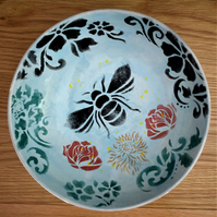 Pottery bowl gift, hand painted glazed bowl
