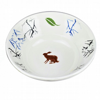 Hand painted Pottery ceramic bowl with a Brown Hare