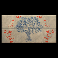 Tree of Life Decorative Tiles, Hand Crafted, Splashback for kitchen or bathroom.