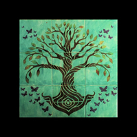 Tree of Life Wall Art, Ceramic Tile Splashback, Hand Painted, Grey