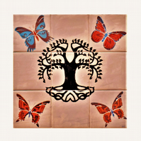 Decorative tile Splashback, Hand painted with Tree of Life and butterflies