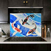 Splashback tile mural, Hand Painted, The Three Koi Carp.