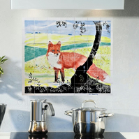 Kitchen Splashback, Red Fox Hand painted Decorative Mural, 42 piece tile set