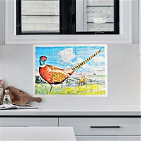 Splashback tiles, Hand Painted Tile wall art, Country scene with pheasant