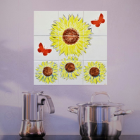 Hand glazed decorative tile mural with large sunflower and butterflies.
