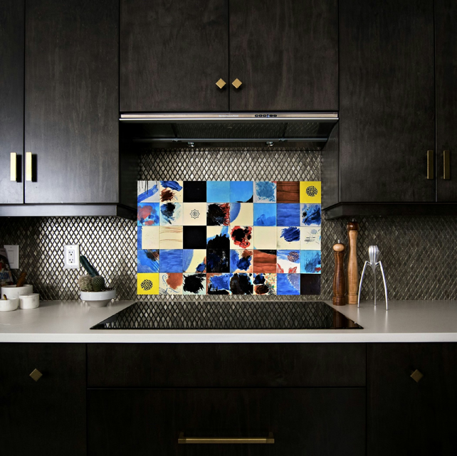 Hand painted splashback, Decorative tiles, 40 piece tile mural