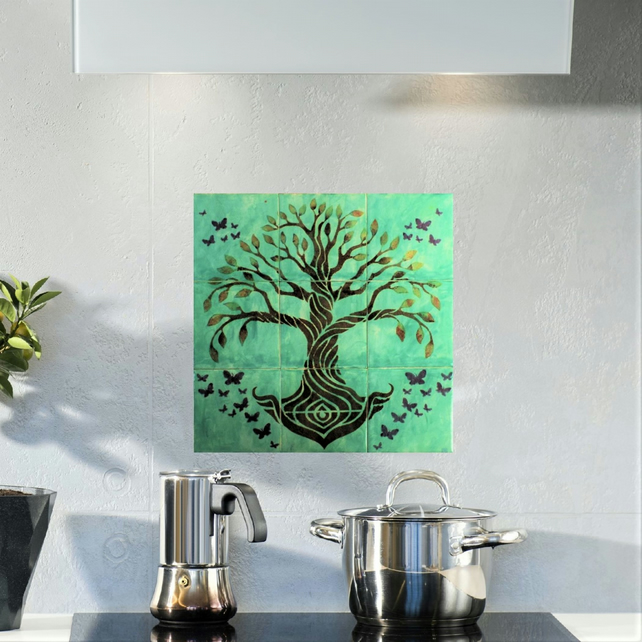 Tree of Life Wall Art, Ceramic Tile Splashback, Hand Painted, Grey, 9 tile mural